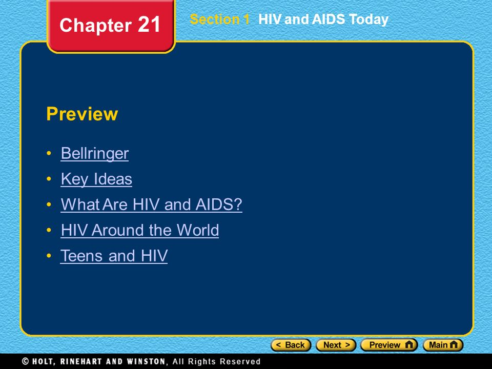 Chapter 21 Preview Bellringer Key Ideas What Are HIV and AIDS