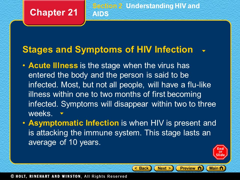 Stages and Symptoms of HIV Infection