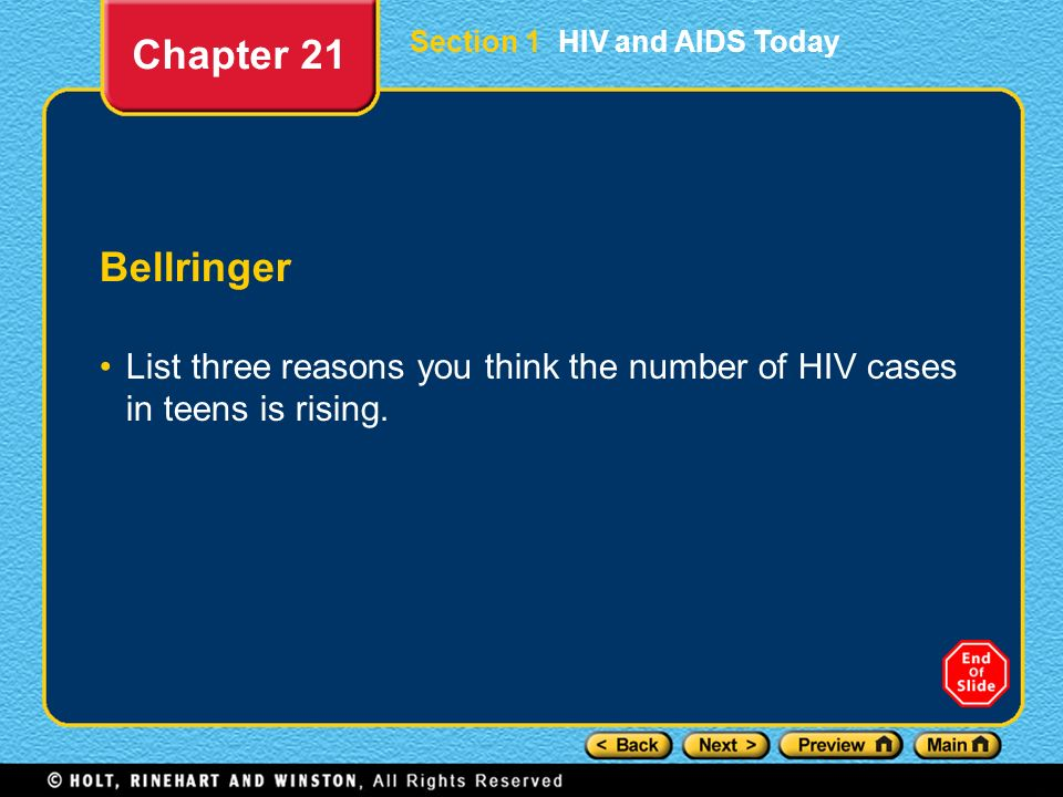 Chapter 21 Section 1 HIV and AIDS Today. Bellringer.
