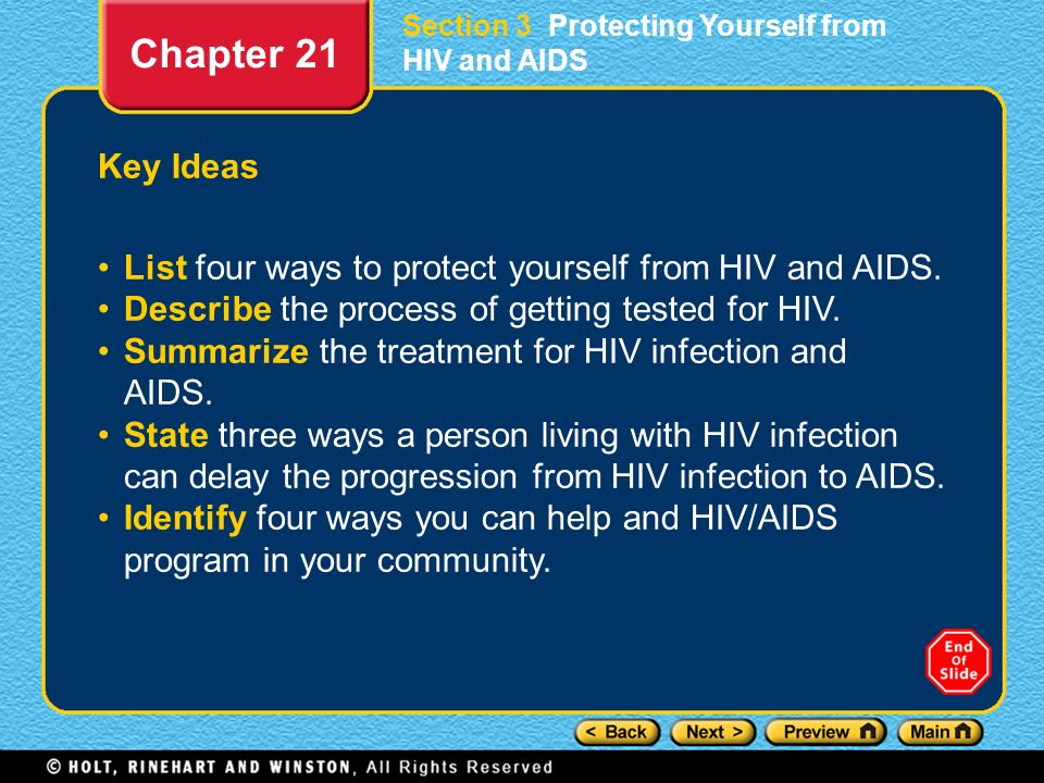 Section 3 Protecting Yourself from HIV and AIDS