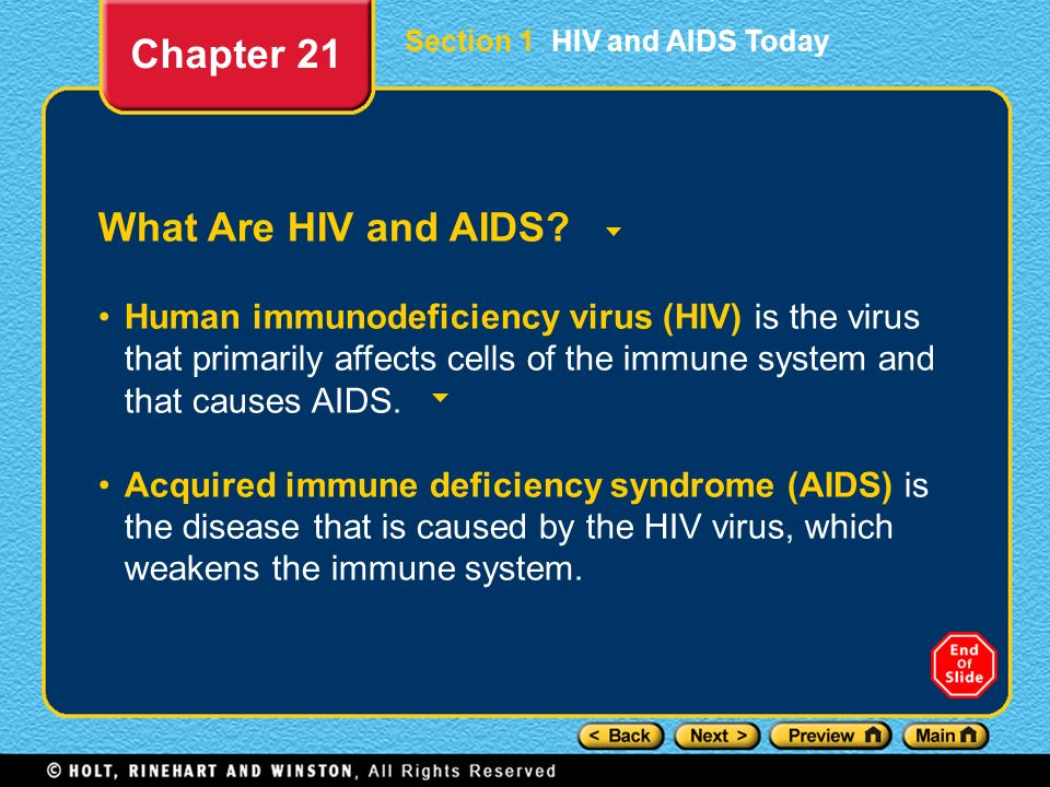 Chapter 21 What Are HIV and AIDS