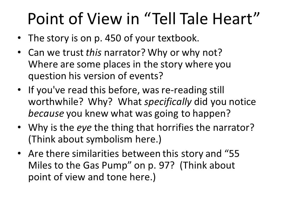 point of view myth and discovering the theme ppt point of view in tell tale heart