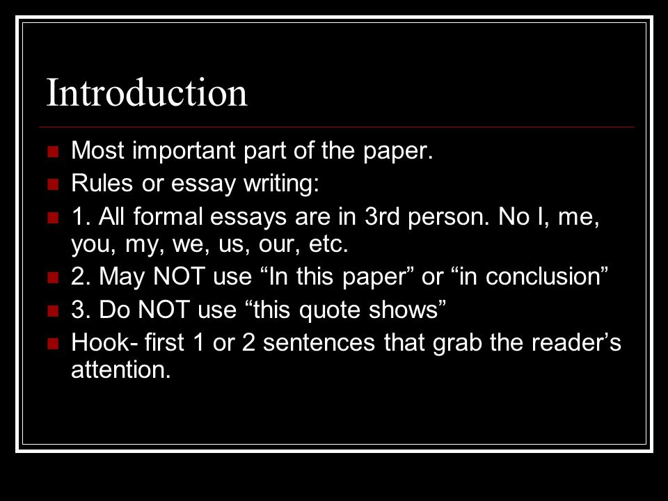 essay writing ppt video online  introduction most important part of the paper rules or essay writing