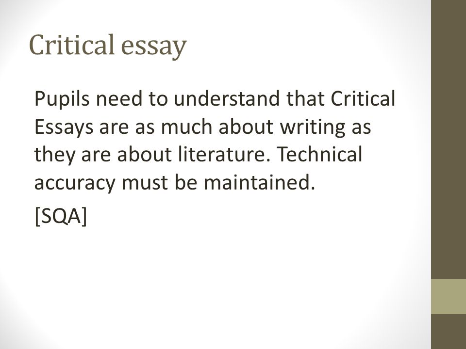 higher english critical essay powerpoint Hi, welcome to my channel visit my channel for information on: 20 mark essay question norman mccaig poems - analysis the cone gatherers -analysis the 10 mar.