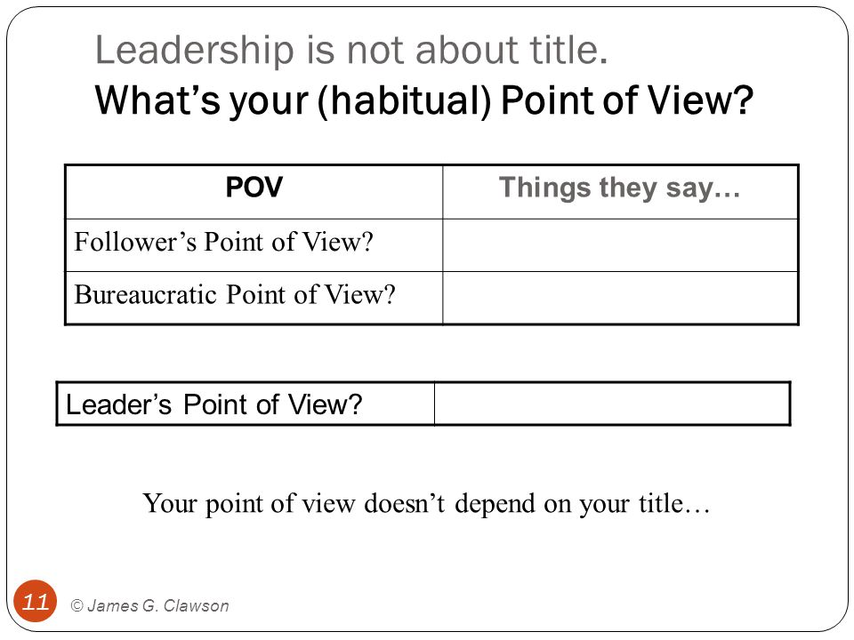 leadership point of view Ethics and leadership effectiveness joanne b ciulla t  from a philosopher's point of view, these studies offer useful empirical descriptions, but they do not offer.