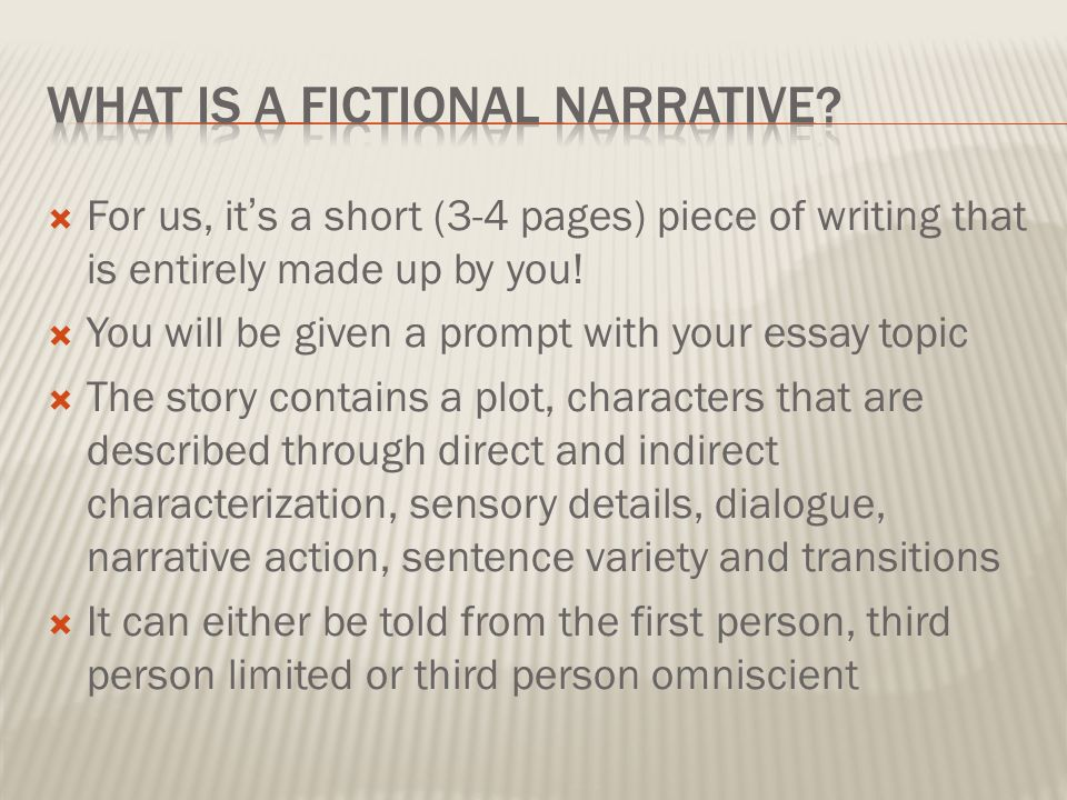 fictional short story essay Personal interpretation of fiction story/essay if you are skilled at creative writing and prefer to take projects that involve creative writing, please make sure you know what is expected from personal interpretation of a specific fiction story/essay.