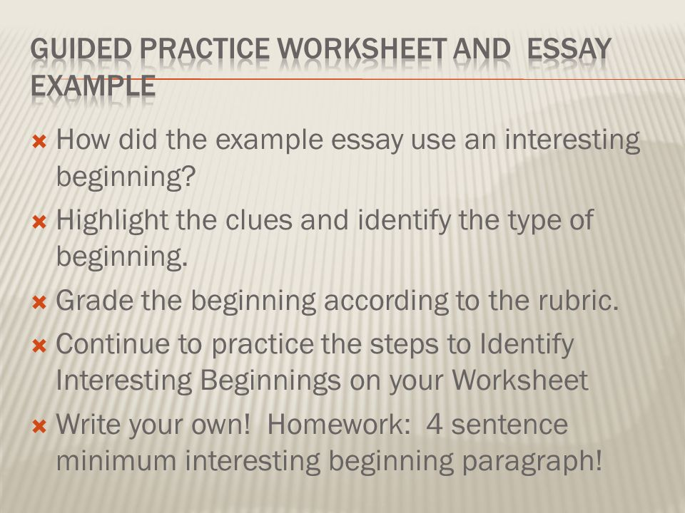 Essay worksheet