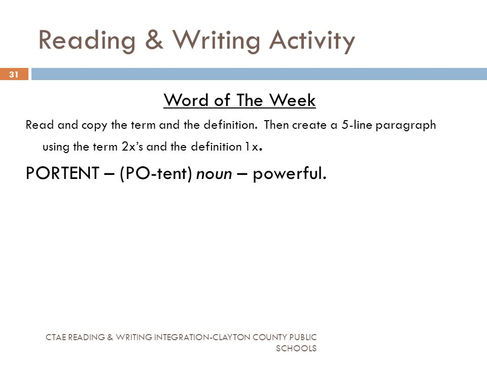 Reading writing activity ppt download for Portent used in a sentence