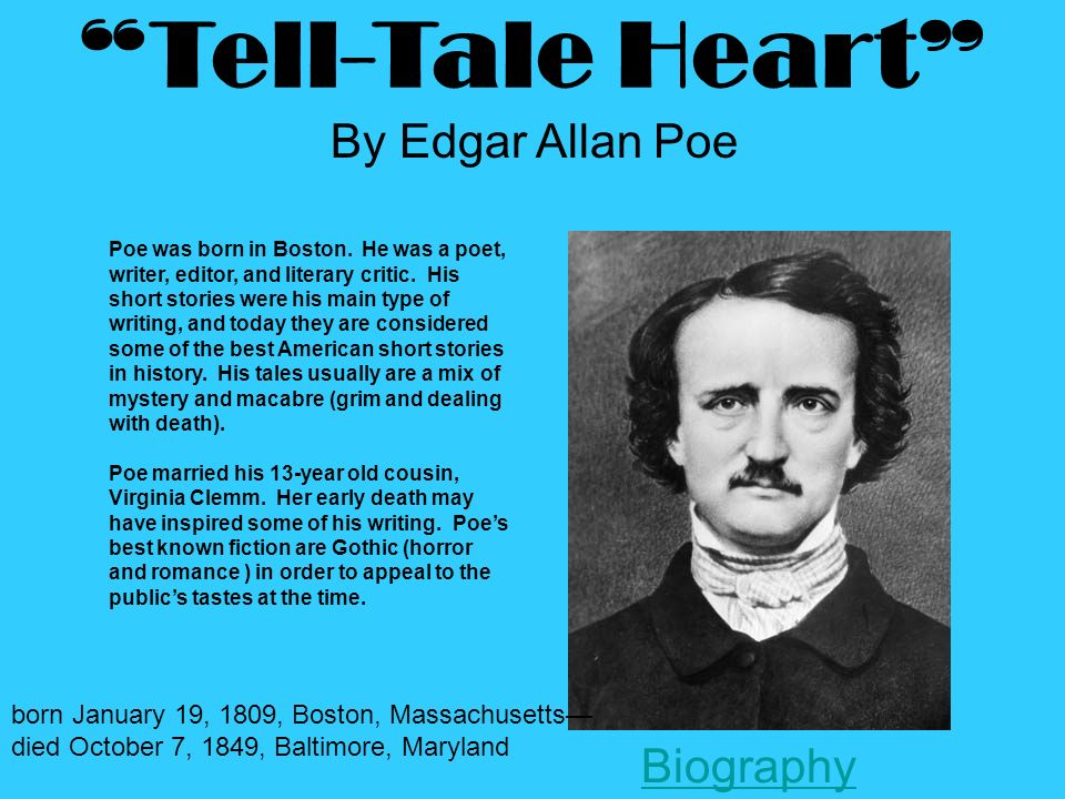 a brief life history and early works of edgar allan poe A chronological list of events that occurred during edgar allan poe's life along with other important world events  mr and mrs john allan adopt edgar poe 1812 3 years old: the war of.
