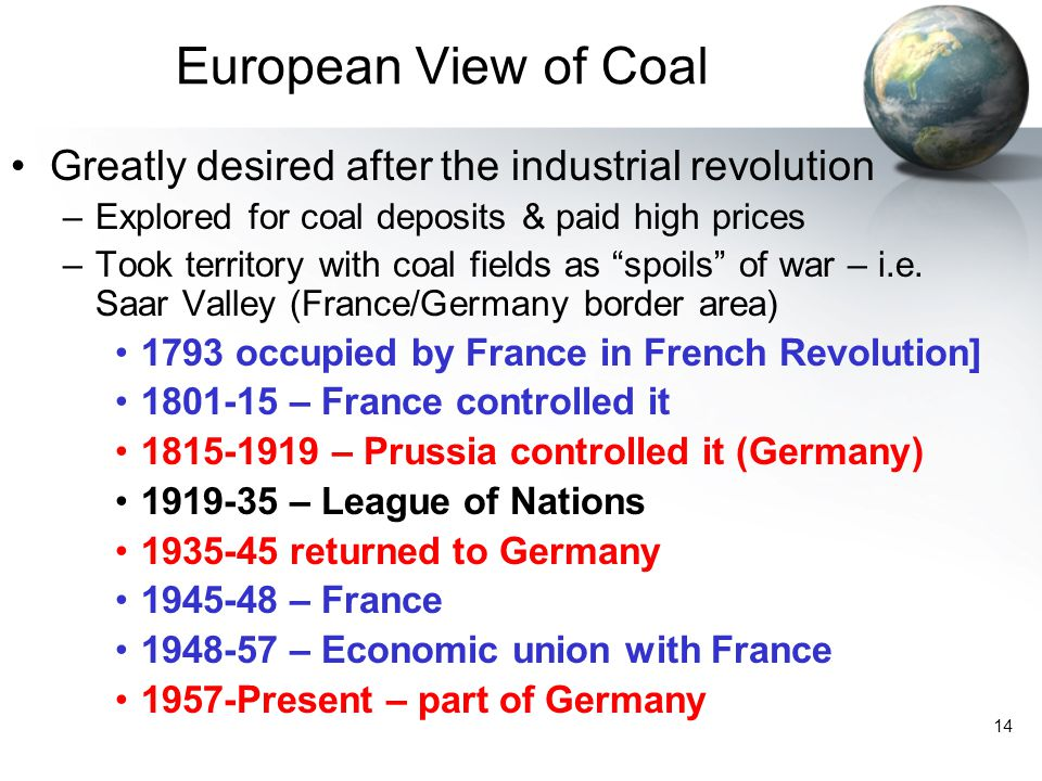 European View of Coal Greatly desired after the industrial revolution
