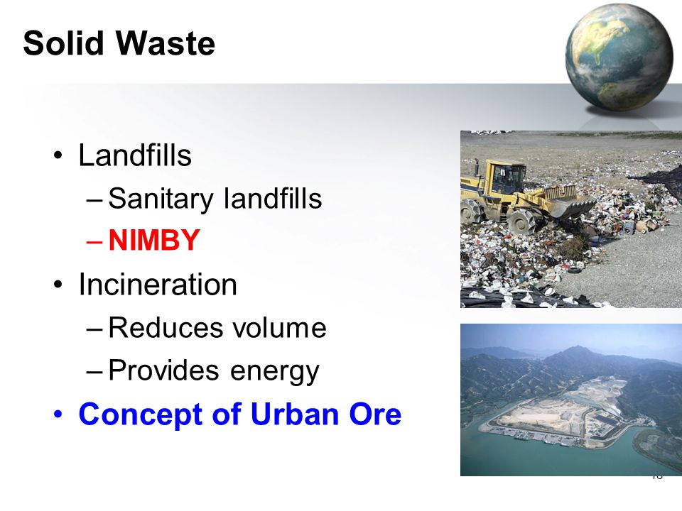 Solid Waste Landfills Incineration Concept of Urban Ore