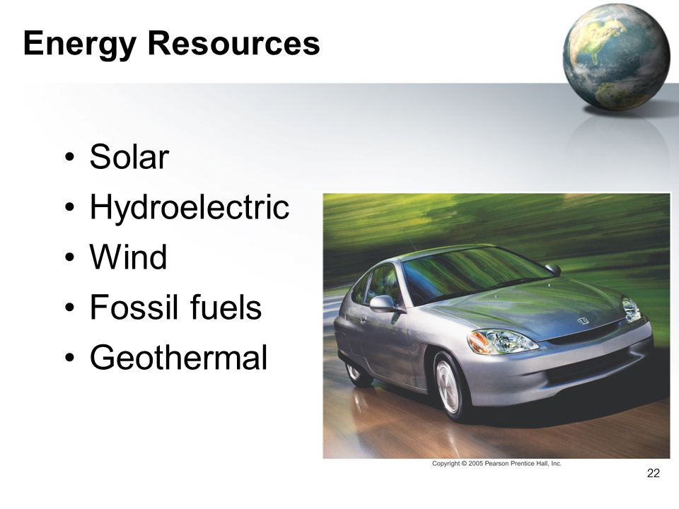 Energy Resources Solar Hydroelectric Wind Fossil fuels Geothermal