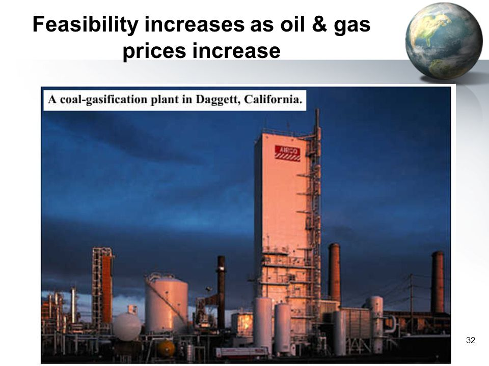 Feasibility increases as oil & gas prices increase
