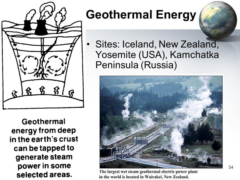 Geothermal Energy Sites: Iceland, New Zealand, Yosemite (USA), Kamchatka Peninsula (Russia)