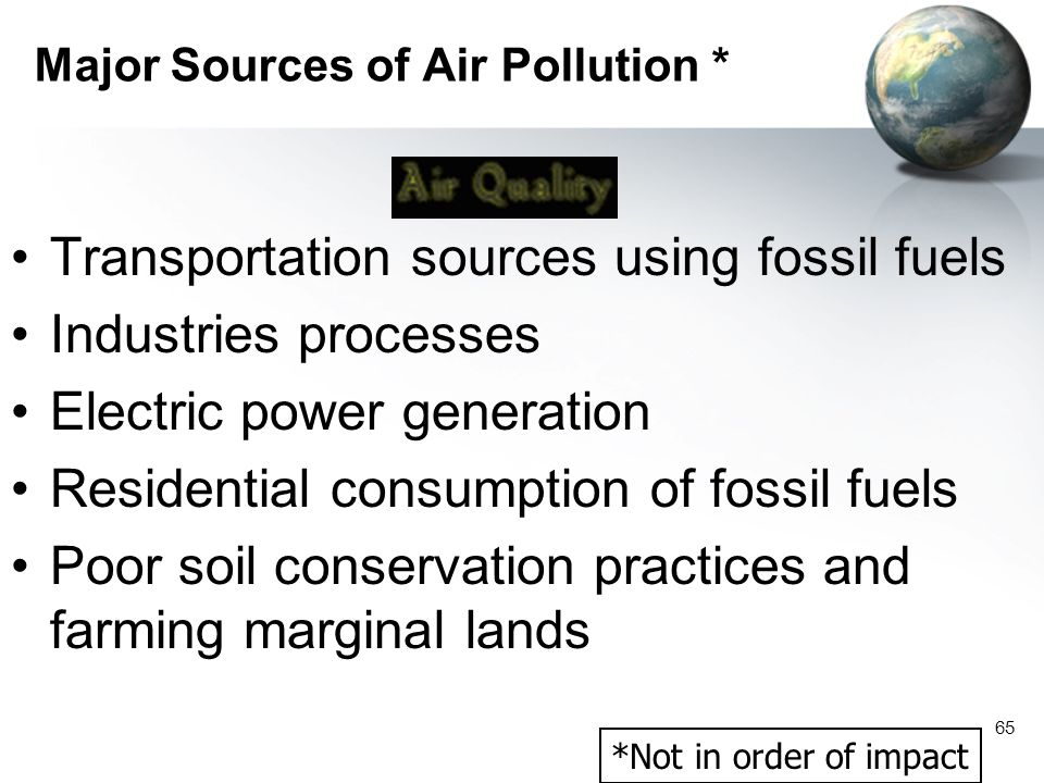 Major Sources of Air Pollution *
