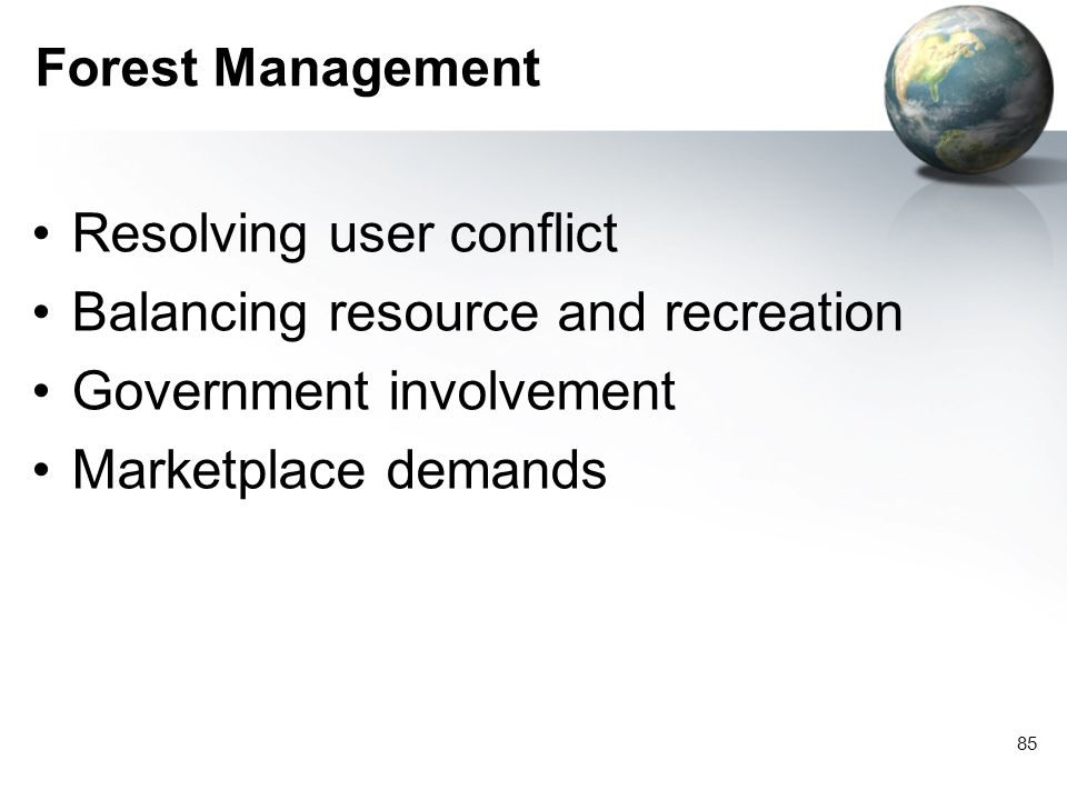 Resolving user conflict Balancing resource and recreation