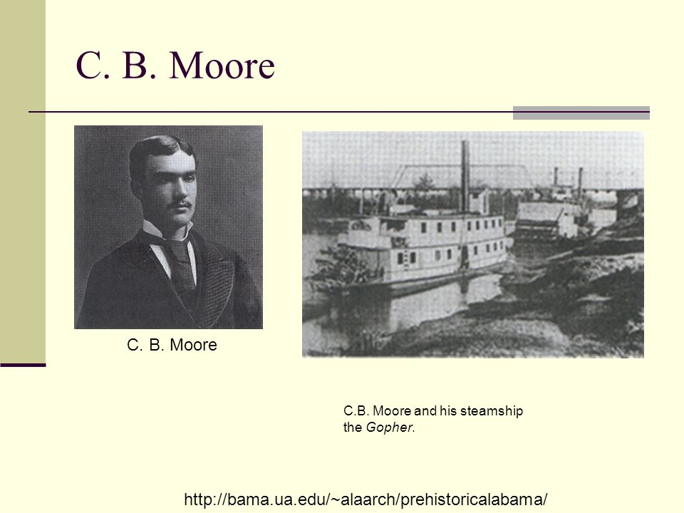 C. B. Moore C. B. Moore. C.B. Moore and his steamship the Gopher.