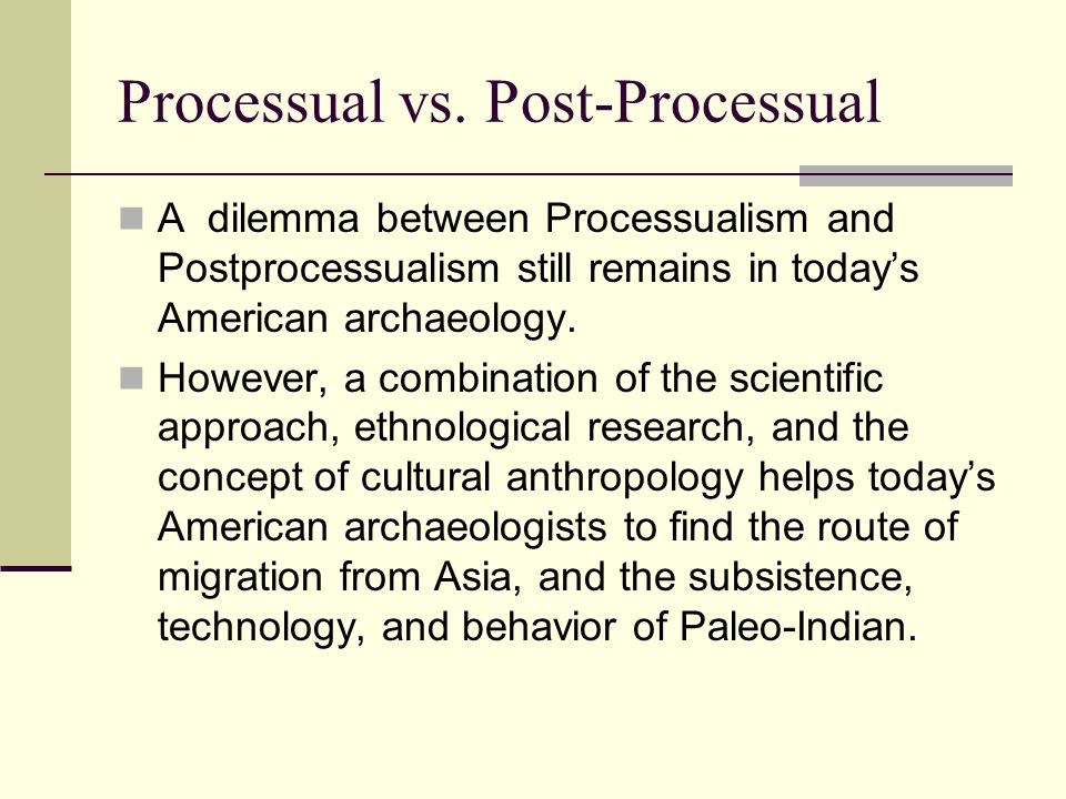 Processual vs. Post-Processual