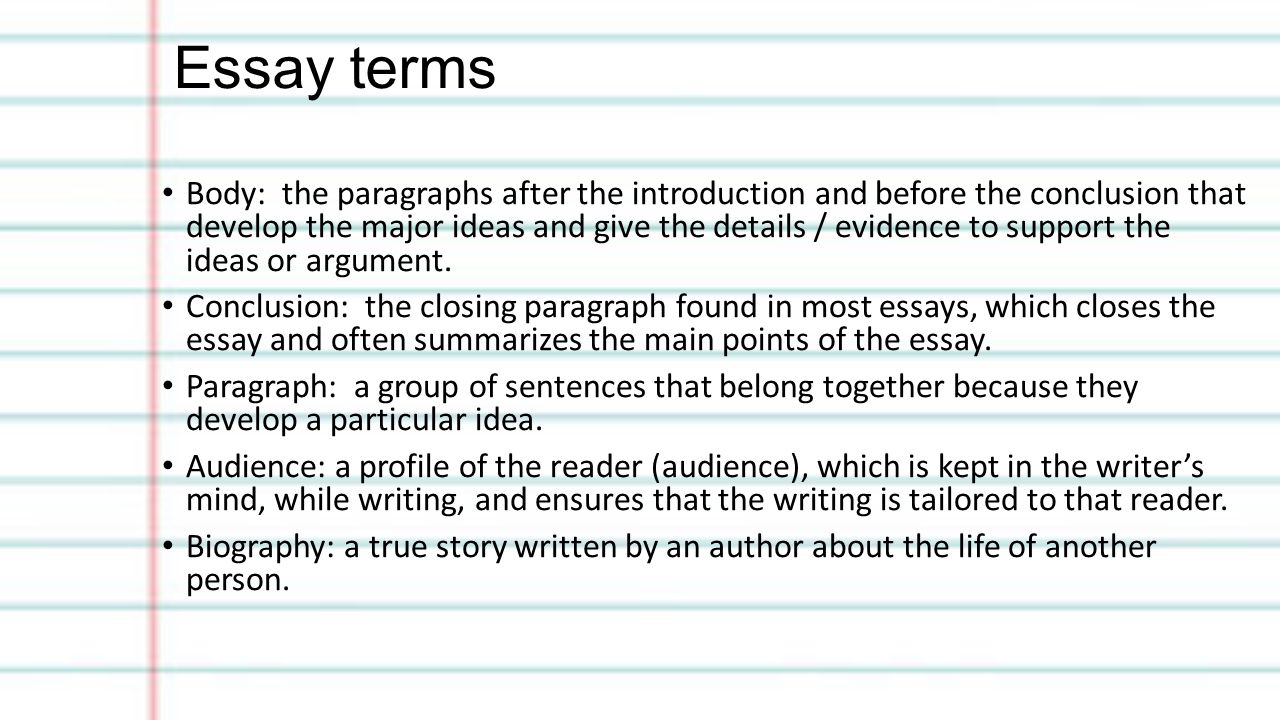 Glossary of essay terms