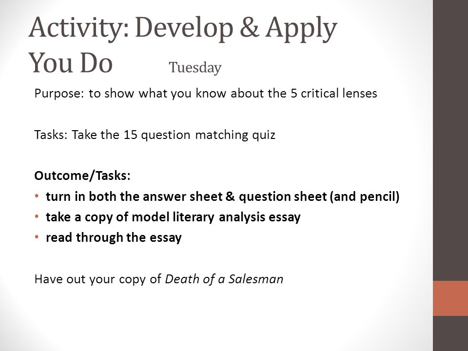 coming up monday th death of a sman finish viewing take  11 activity