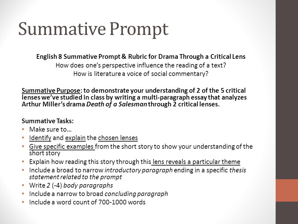 coming up monday th death of a sman finish viewing take summative prompt english 8 summative prompt rubric for drama through a critical lens how