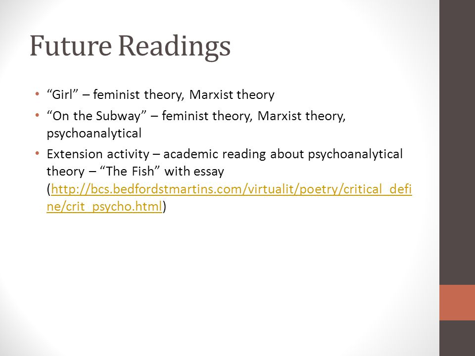 feminist literature essay The feminist literary theory gives inference of the literary evaluations that find root from the perspectives of feminists politics.
