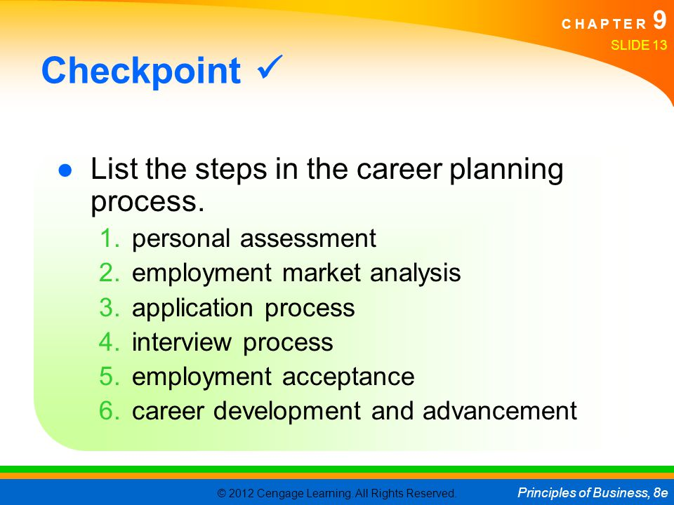 Checkpoint  List the steps in the career planning process.