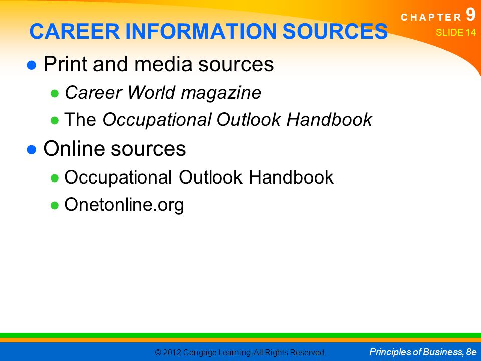 CAREER INFORMATION SOURCES
