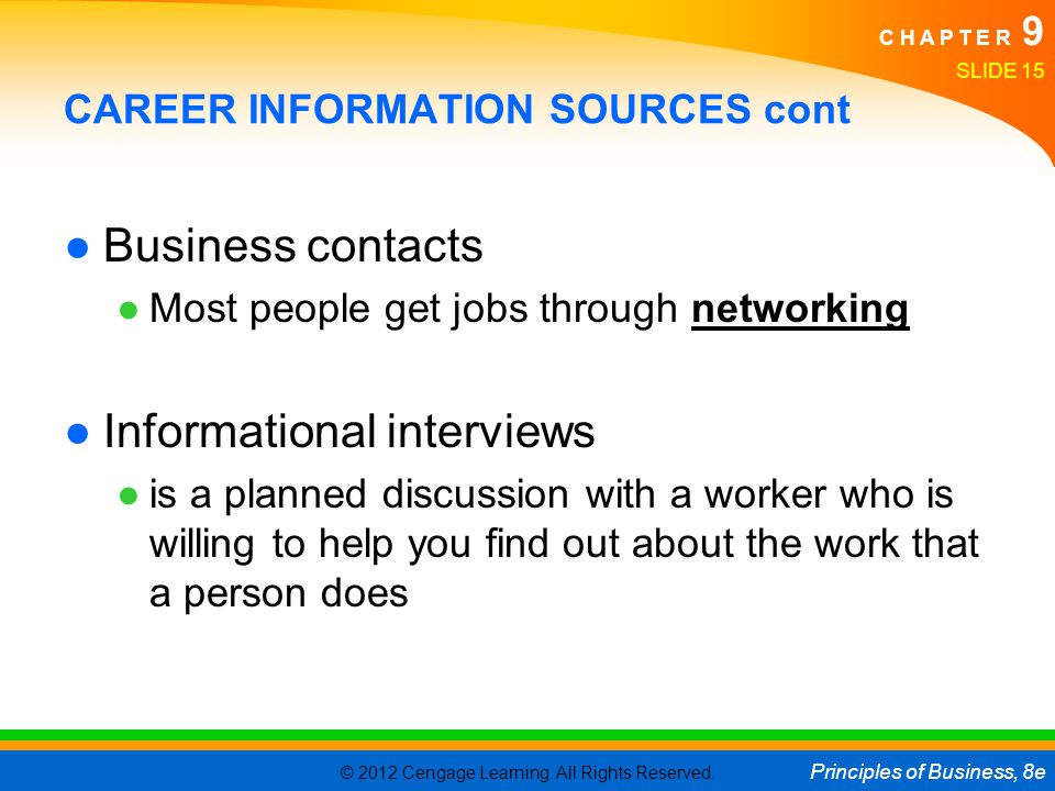 CAREER INFORMATION SOURCES cont