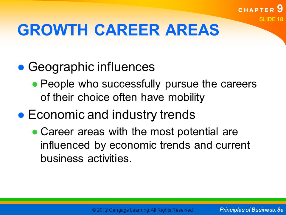 GROWTH CAREER AREAS Geographic influences Economic and industry trends