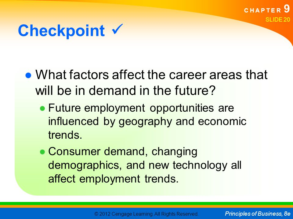 Checkpoint  What factors affect the career areas that will be in demand in the future