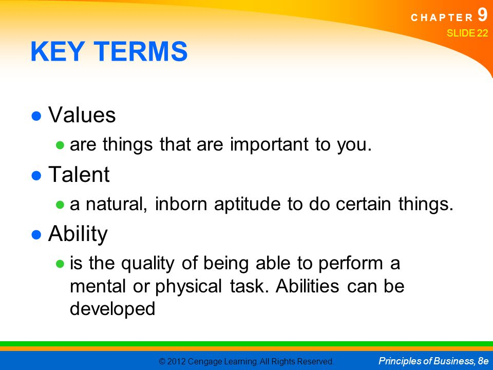 KEY TERMS Values Talent Ability are things that are important to you.