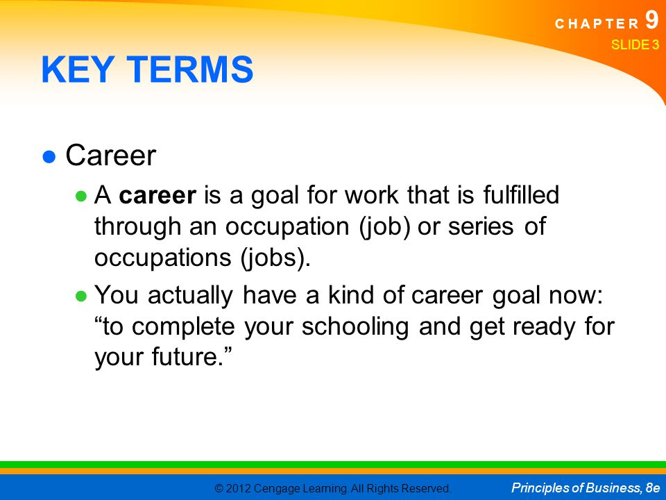 KEY TERMS Career. A career is a goal for work that is fulfilled through an occupation (job) or series of occupations (jobs).