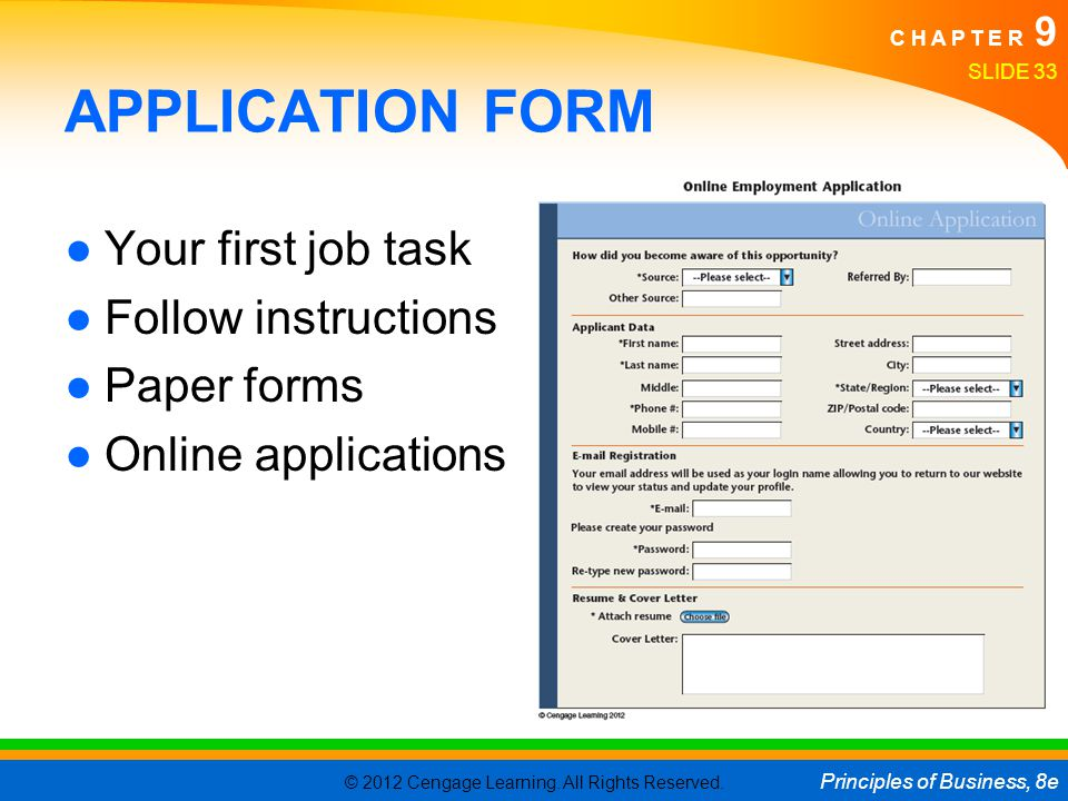 APPLICATION FORM Your first job task Follow instructions Paper forms
