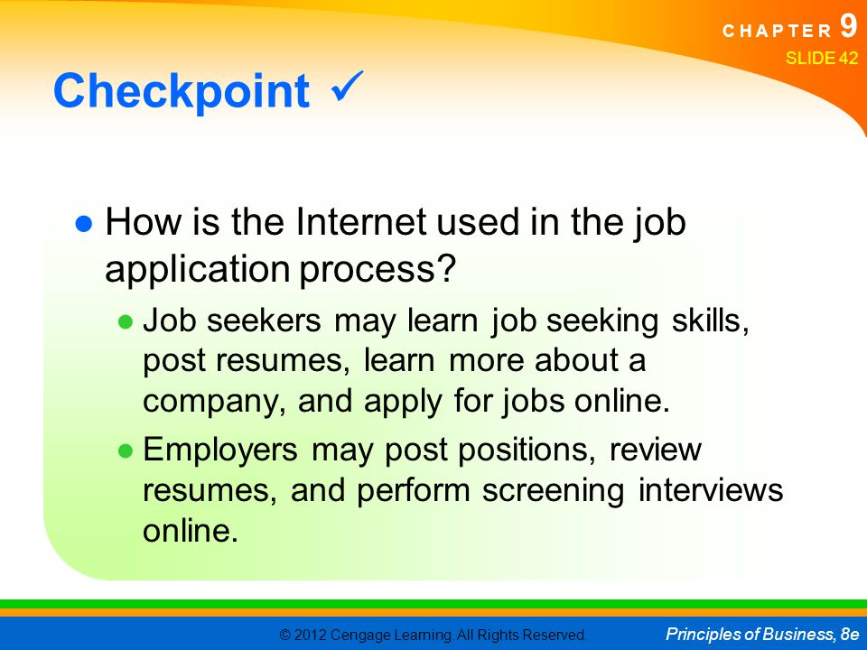 Checkpoint  How is the Internet used in the job application process