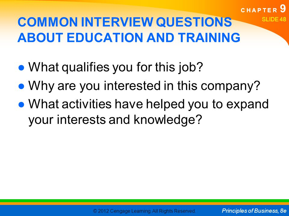 COMMON INTERVIEW QUESTIONS ABOUT EDUCATION AND TRAINING