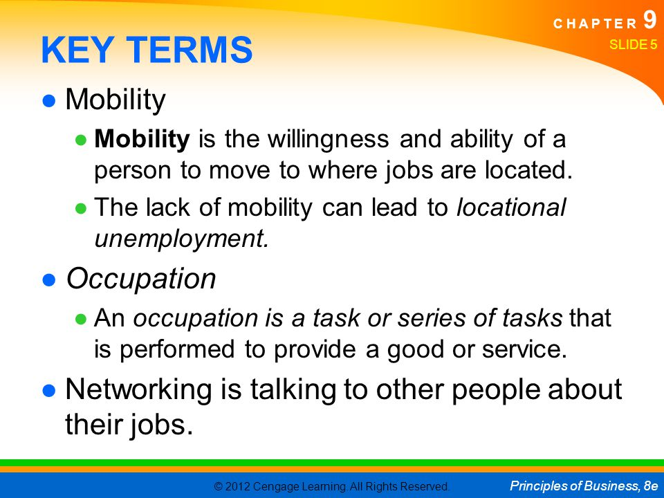 KEY TERMS Mobility Occupation
