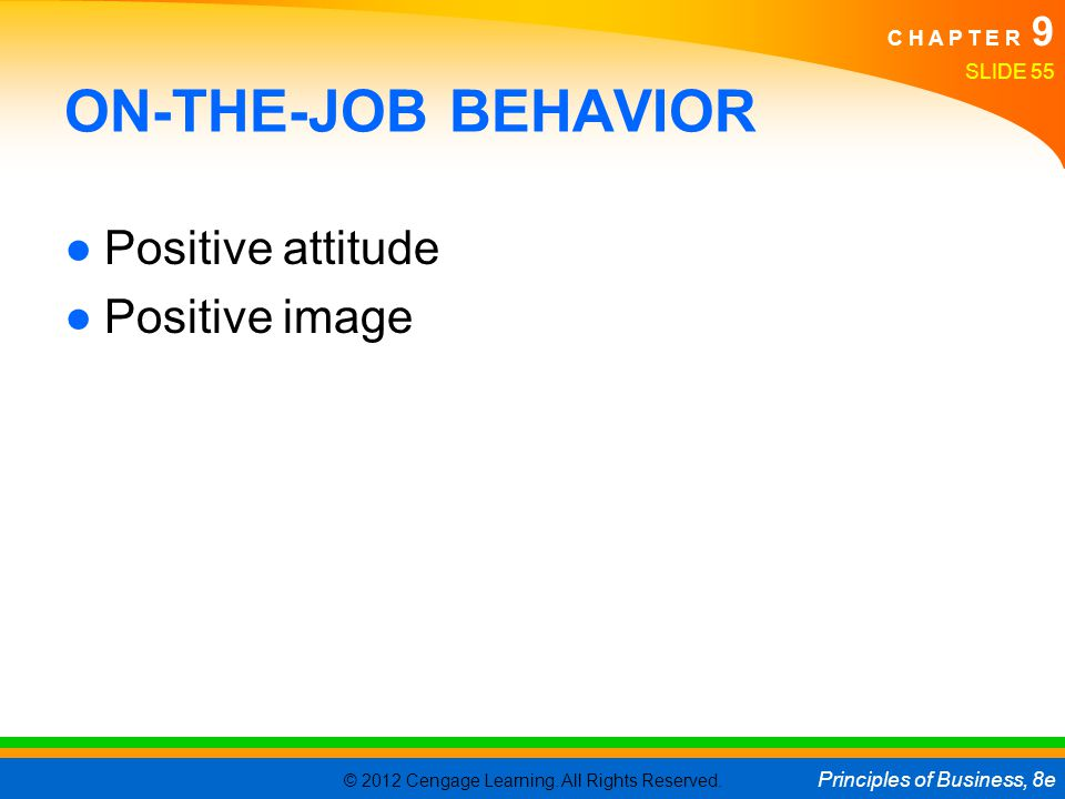 ON-THE-JOB BEHAVIOR Positive attitude Positive image