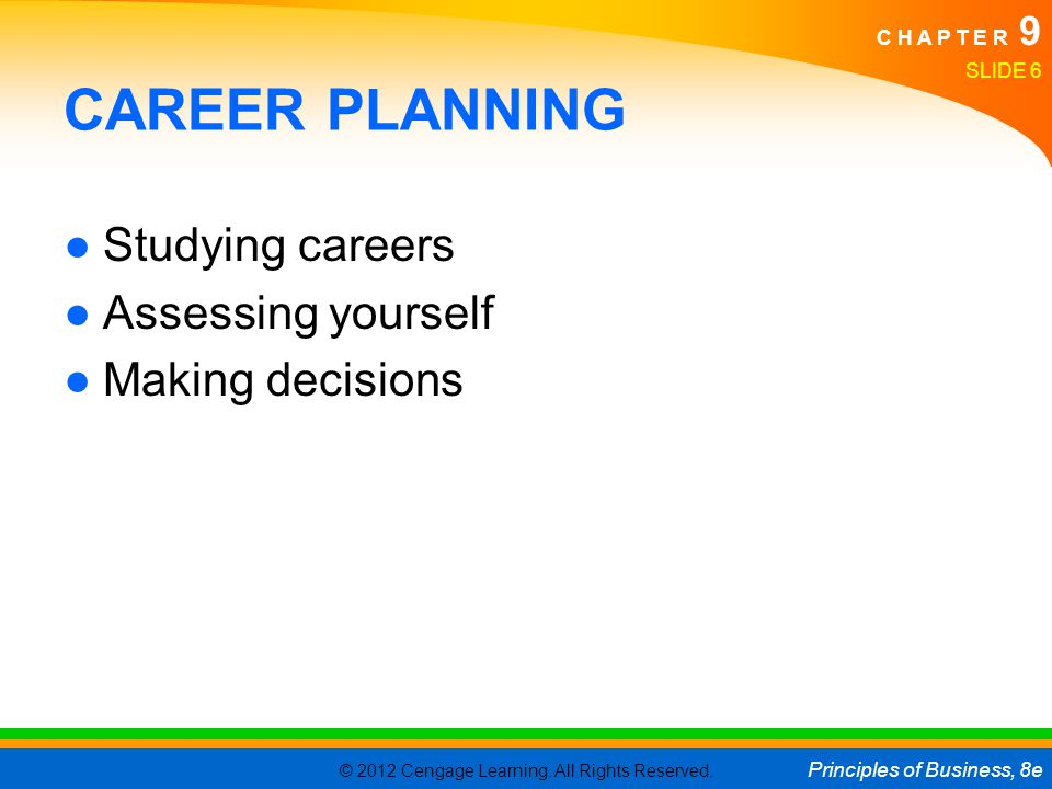 CAREER PLANNING Studying careers Assessing yourself Making decisions