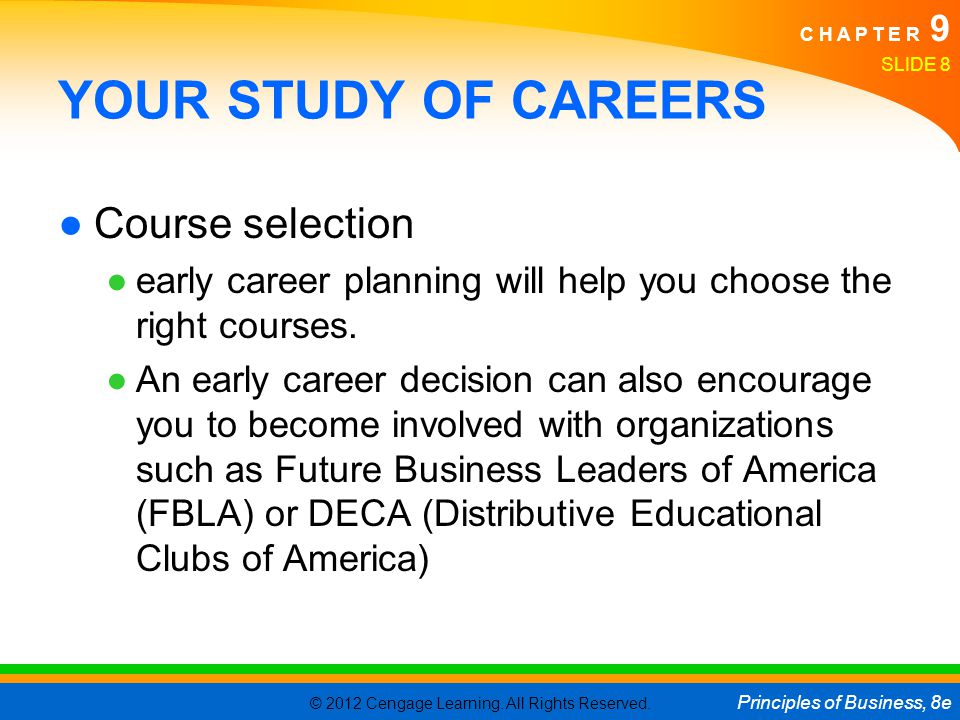 YOUR STUDY OF CAREERS Course selection