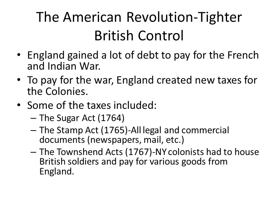 tighter british control The stamp act of 1765 was the first internal tax levied directly on american colonists by the british government  ended the long rivalry between france and britain for control of north america.