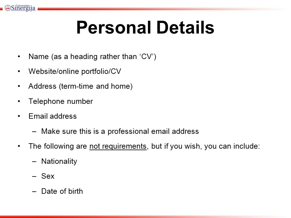 how to add personal details on email