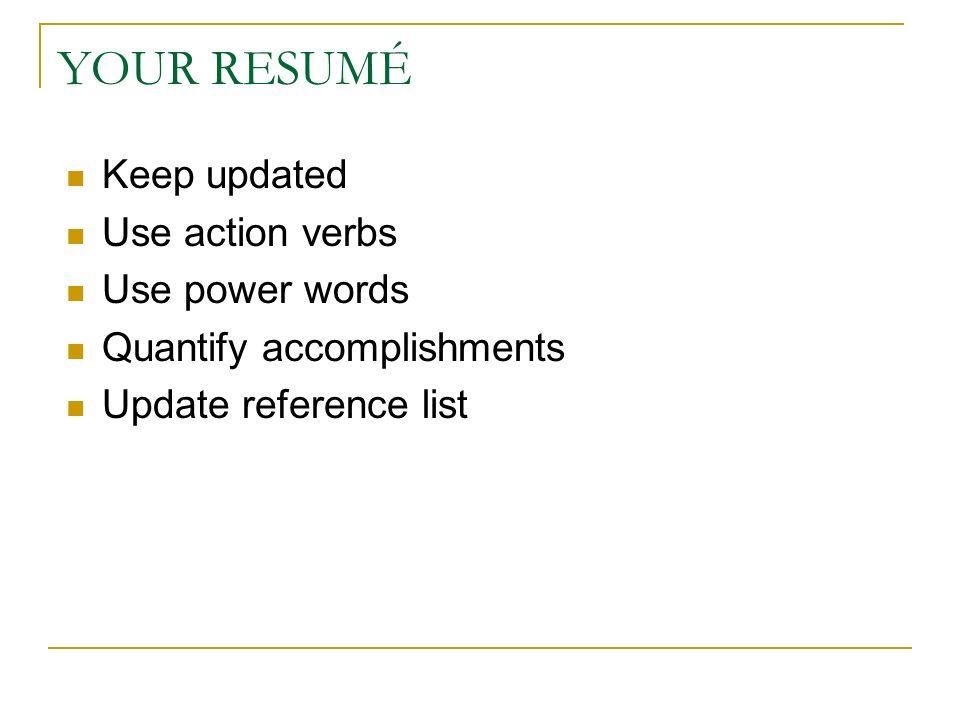 power resume verbs
