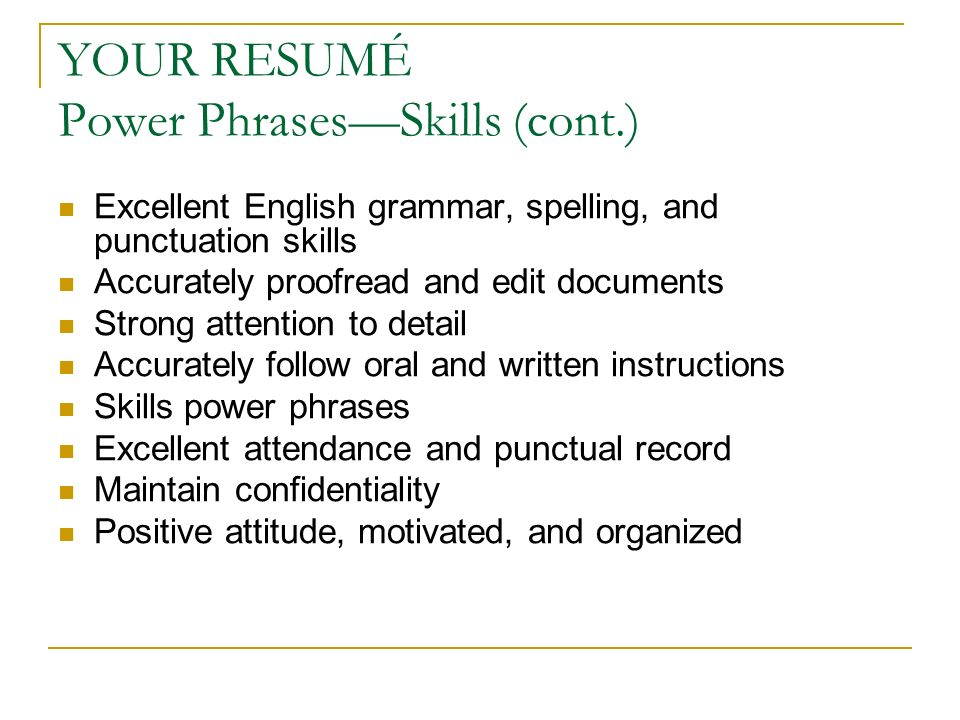 power phrases to build your resume