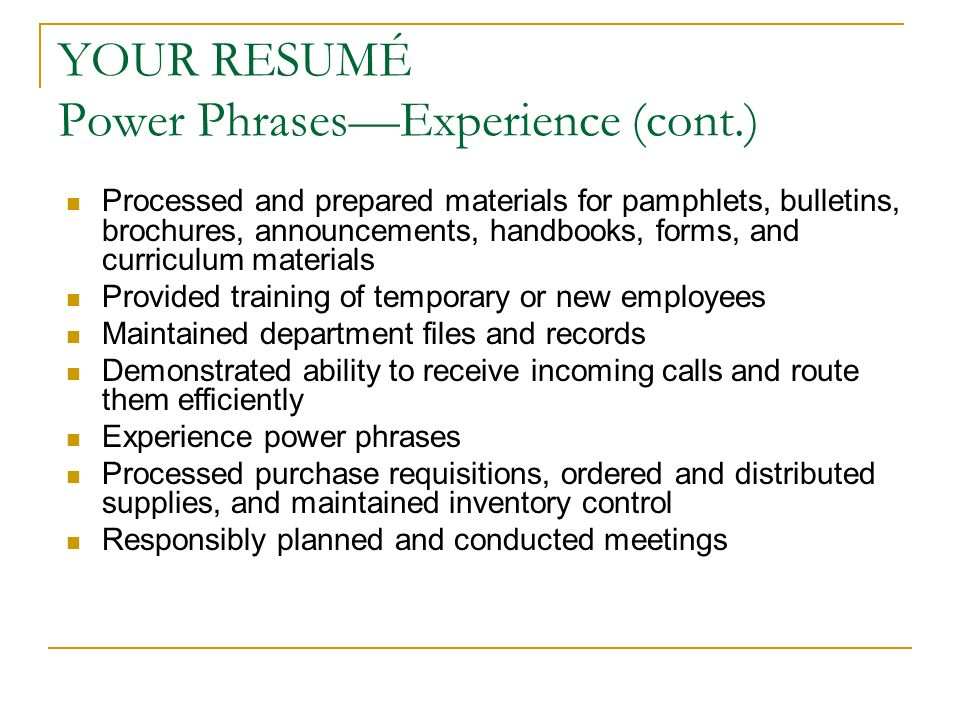resume power phrases