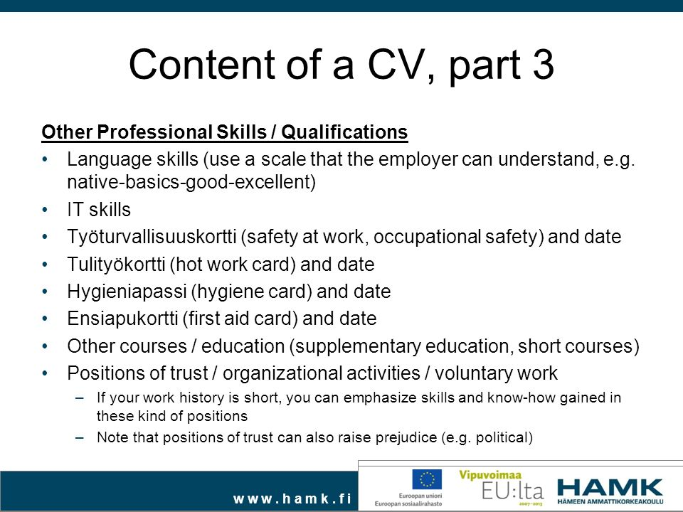 Skills qualifications resume examples