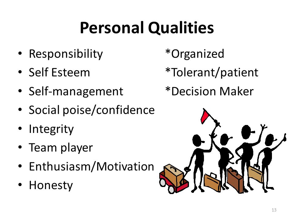 Personal Qualities Responsibility *Organized