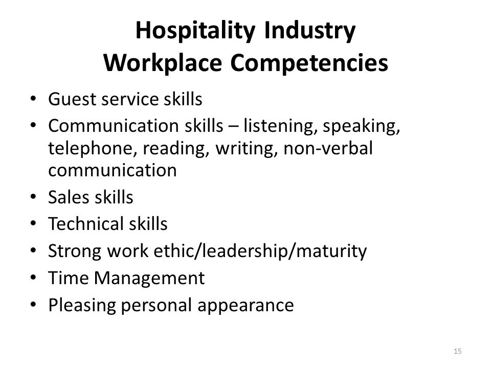 Hospitality Industry Workplace Competencies