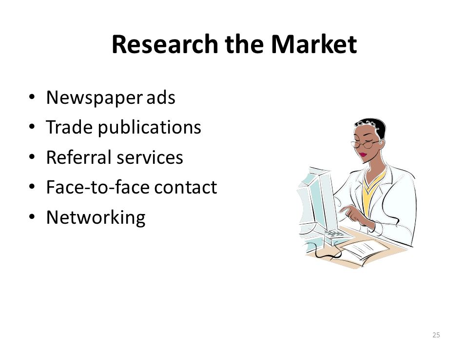 Research the Market Newspaper ads Trade publications Referral services