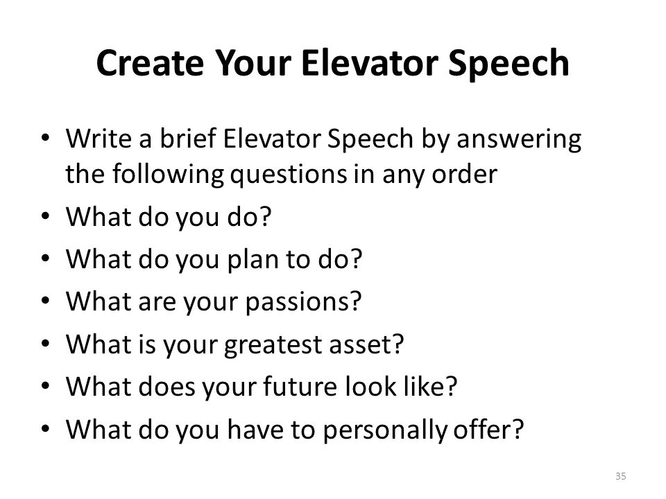Create Your Elevator Speech